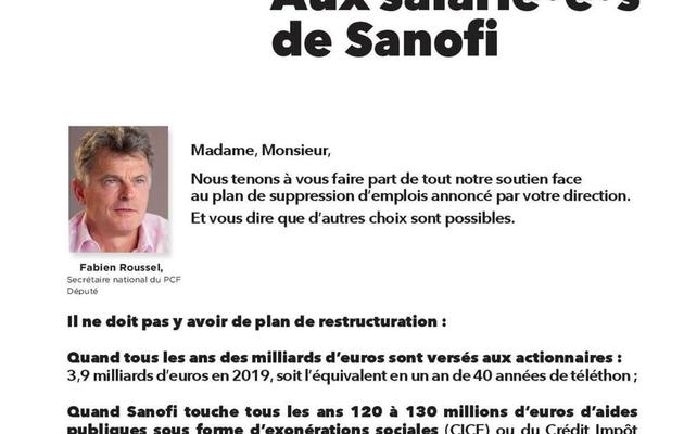 Fabien Roussel écrit aux salariés de Sanofi