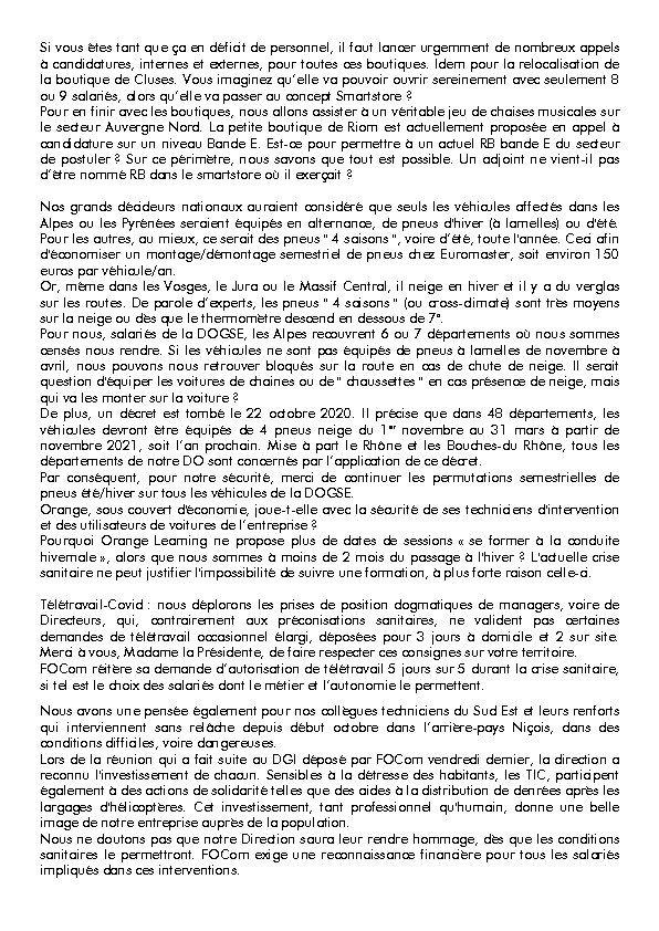 Déclaration préalable FOCOM CSE DOGSE 28/10/2020