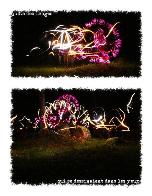Une histoire de feu follets  dans un bois de montagne. Roman photo en light painting.
