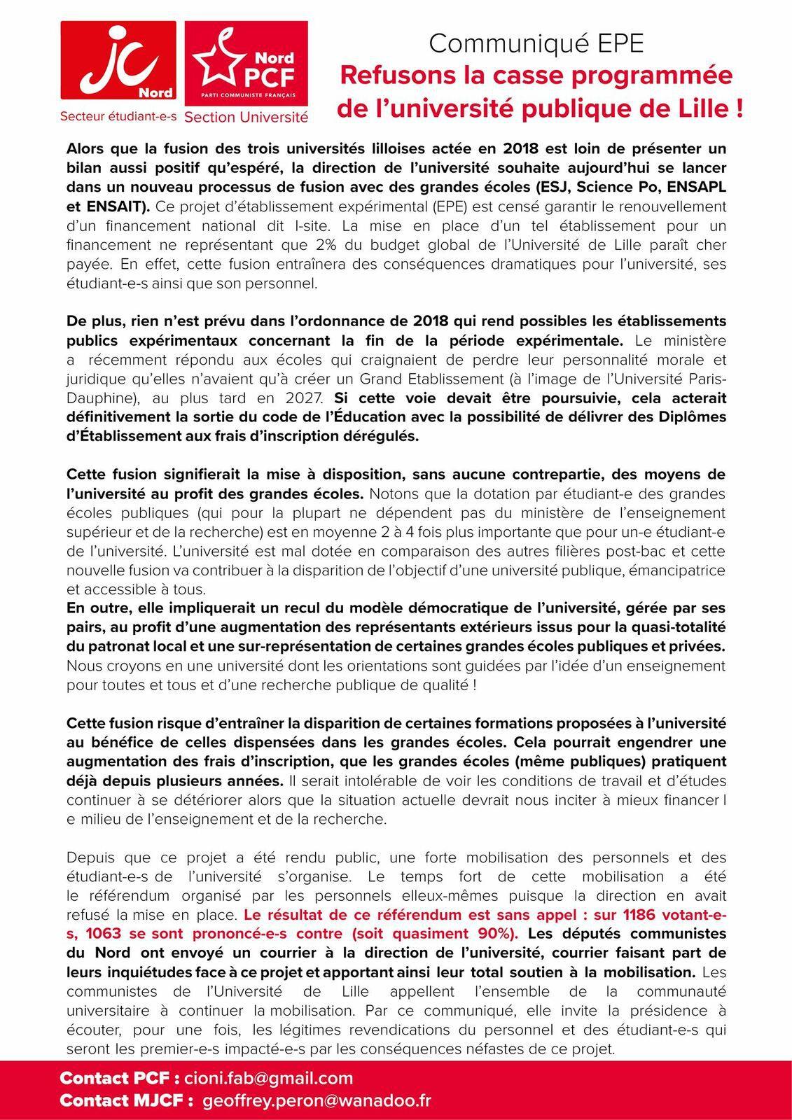 EPE : refusons la casse programmée de l'Université publique de Lille !