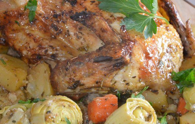 Poulet rôti facile et ses petits légumes