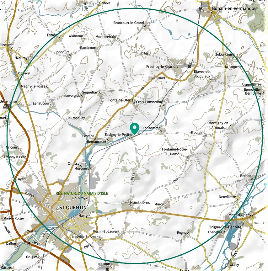 Les 10 kilomètres autour d'Essigny-le-Petit