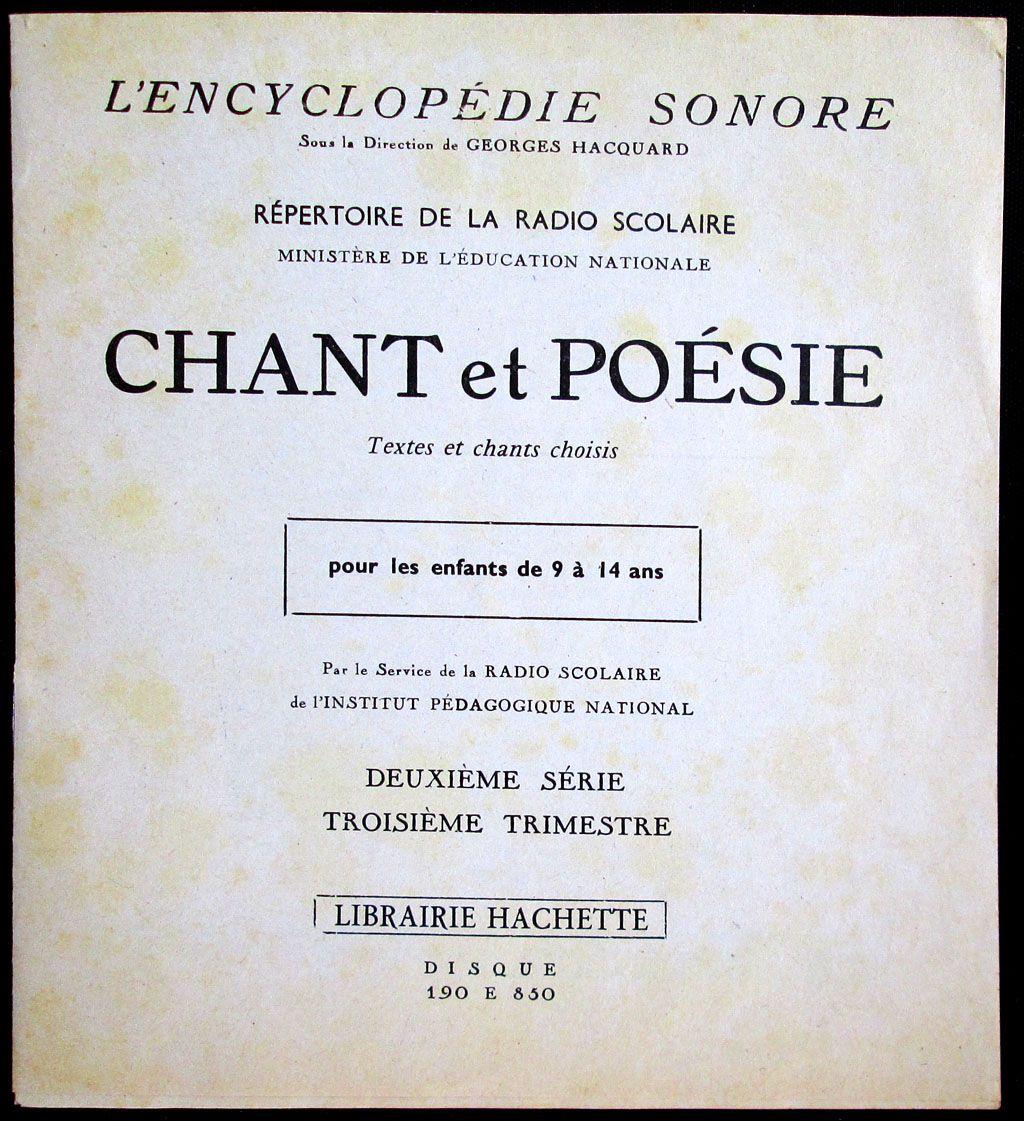 Répertoire de la radio scolaire 1960-1961 - 3ème trimestre - Chant et poésie