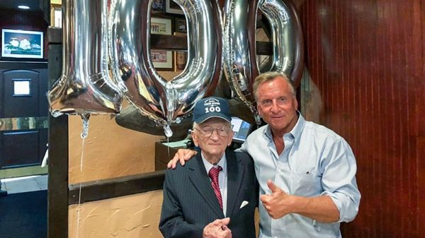 Don Ferencz with his father Benjamin Ferencz on his 100th birthday earlier this year [Photo courtesy of the Ferencz family]