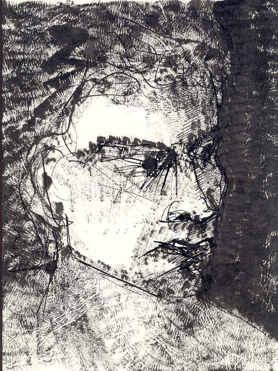 Encre noire sur papier lisse, 29 cm x 42 cm, à partir de modèles vivants