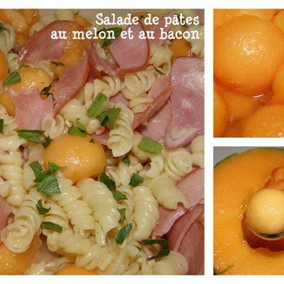Salade de pâtes au melon et au bacon