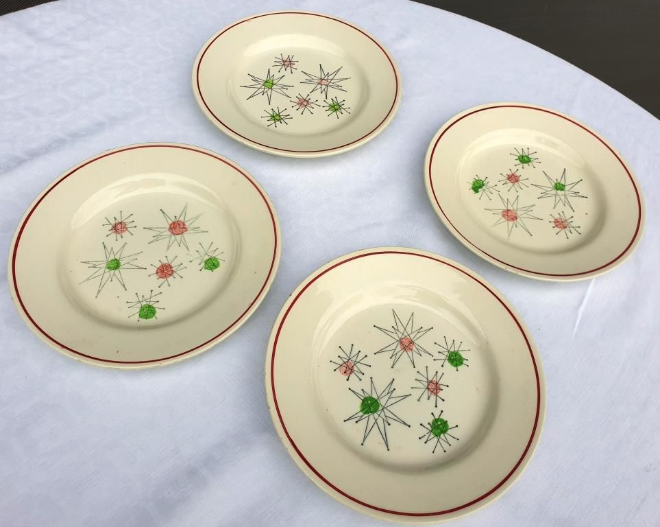 Set 4 assiettes Marie Claude VF Paris String Art 1960 - 12 euros