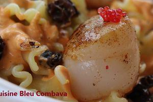 Timbales de Mafalda Corta aux St Jacques et aux Morilles, Sauce Corail au Cognac