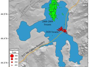 Yellowstone lake - location, magnitude and cumulative number of earthquakes of seismic swarms 2020 and 2008-2009 - Doc. USGS - one click to enlarge
