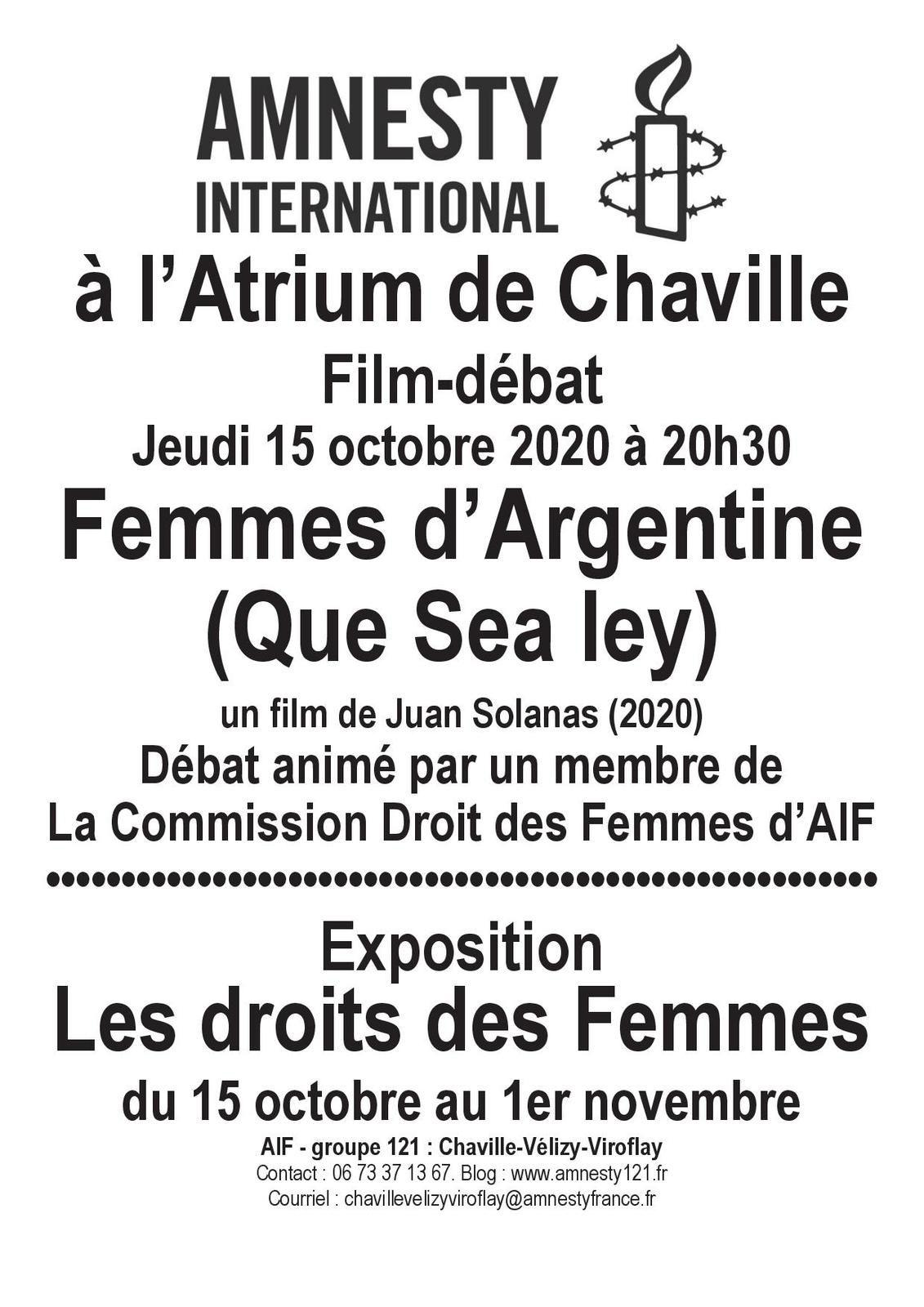 """Chaville, 15 octobre, Ciné-débat """"Femmes d'Argentine"""" (Que Sea ley)"""
