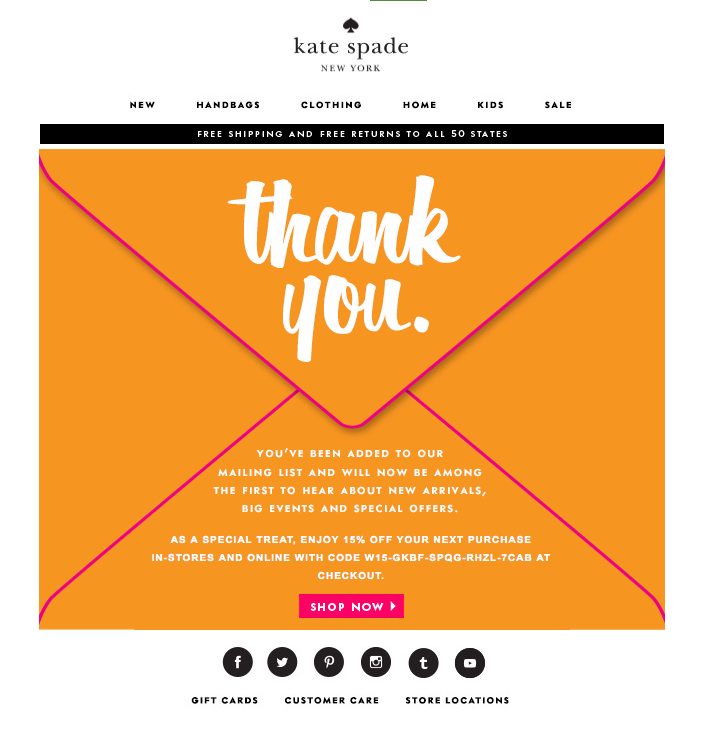 Emailing : Un super exemple de Welcome email marketing