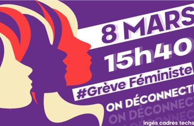 LE 8 MARS, À 15h40, ON DÉCONNECTE ! APPEL À LA #GRÈVEFEMINISTE ET À LA DÉCONNEXION