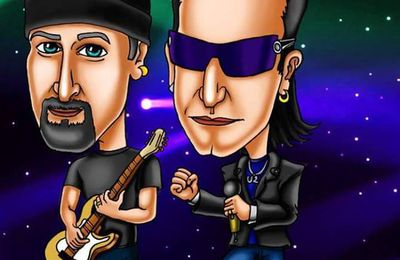 Caricature The Edge et Bono