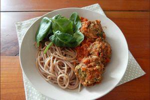 Polpettes italiennes aux herbes et spaghettis d'épeautre