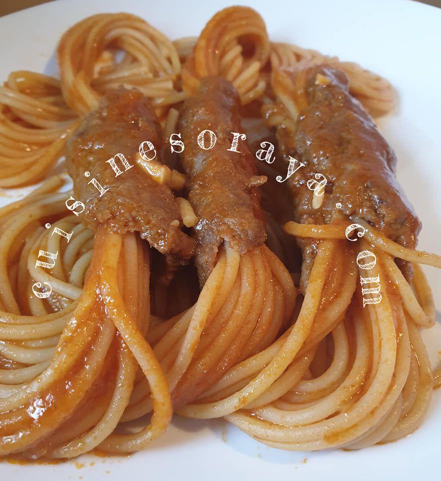 Spaghetti enrobé de viande de boeuf