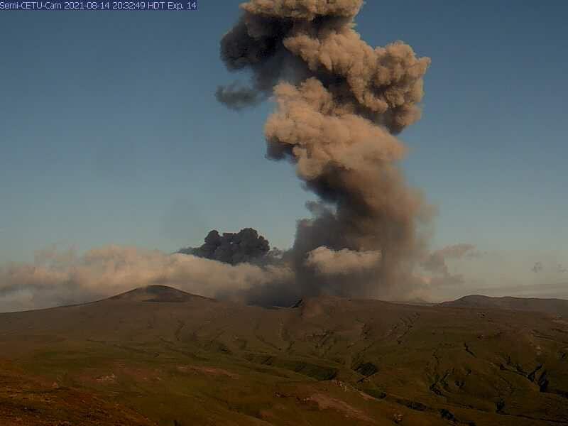 Semisopochnoi - ash emission - photo archives AVO 08/14/2021
