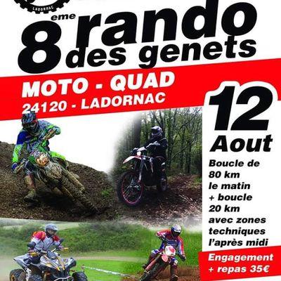 Rando moto et quad de l'Association Lez'enra'g, Rando de Genets de Ladornac (24) le 12 août 2018