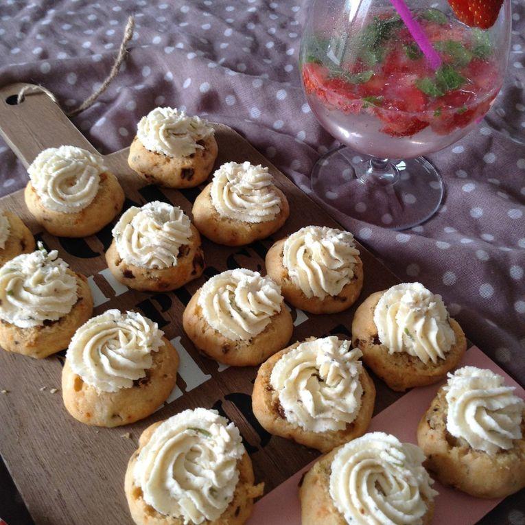 whoopies aux tomates séchées et crème de parmesan