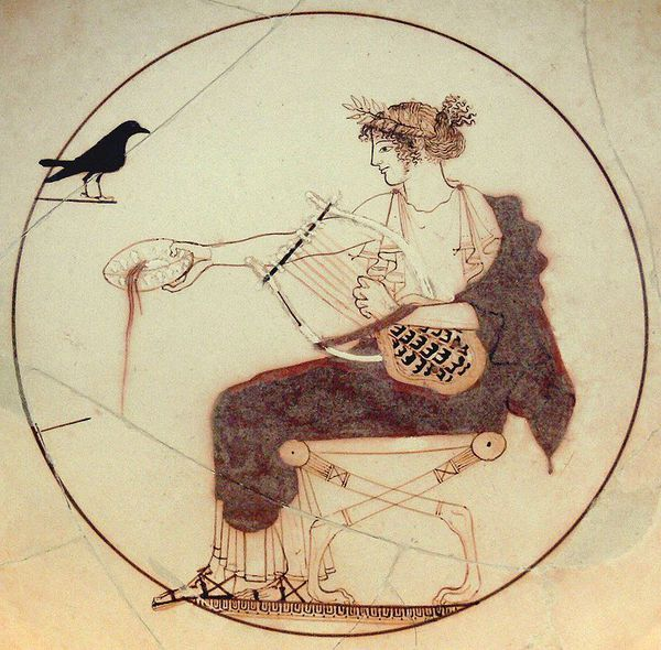 Apollo wearing a laurel or myrtle wreath, a white peplos and a red himation and sandals, seating on a lion-pawed diphros; he holds a kithara in his left hand and pours a libation with his right hand. Facing him, a black bird identified as a pigeon, a jackdaw, a crow (which may allude to his love affair with Coronis) or a raven (a mantic bird). Tondo of an Attic white-ground kylix attributed to the Pistoxenos Painter (or the Berlin Painter, or Onesimos). Diam. 18 cm (7 in.). From a tomb (probably that of a priest) in Delphi. Archaeological Museum of Delphi, Inv. 8140, room XII.