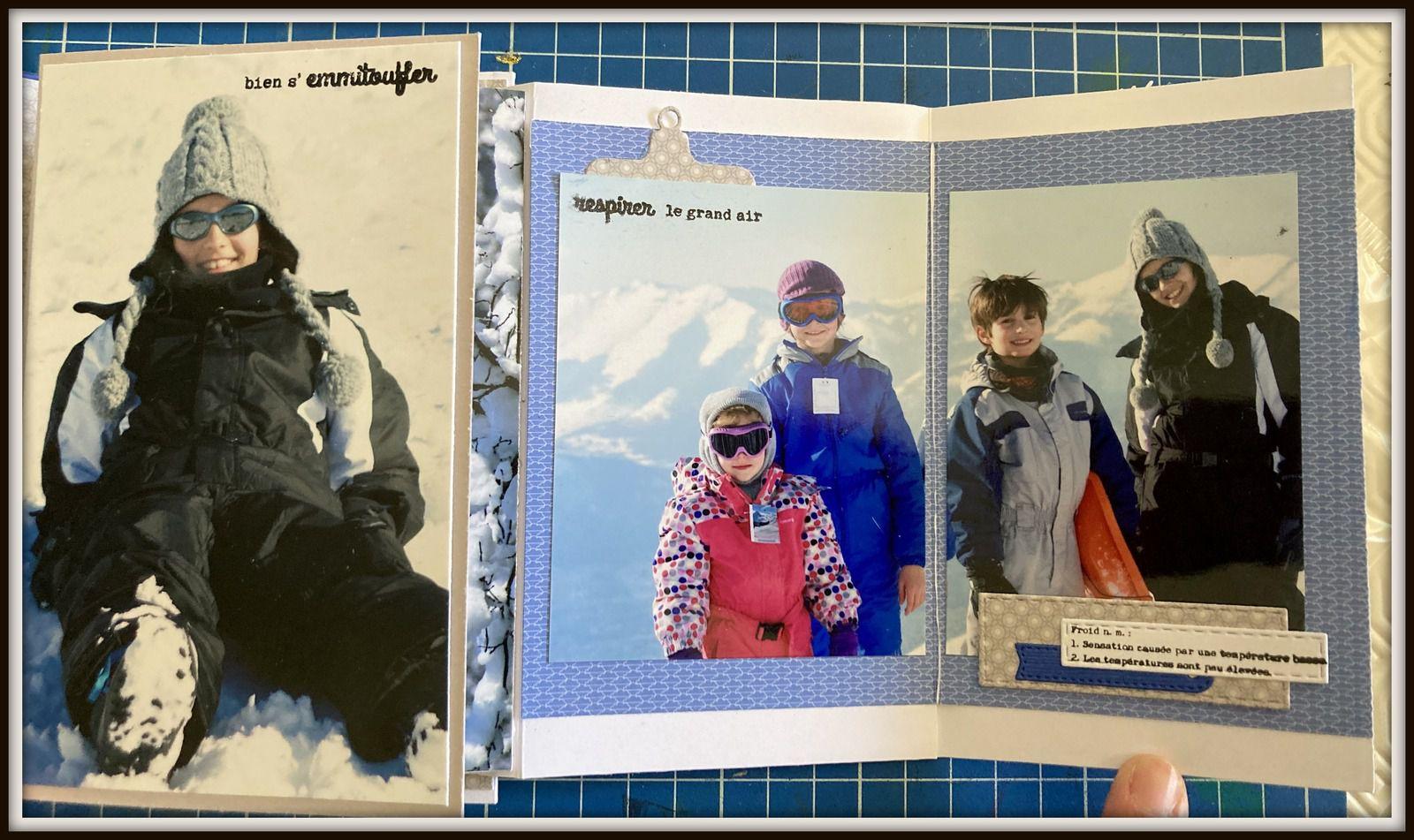 Le livret comporte un rabat qui permet de cacher une photo format paysage...
