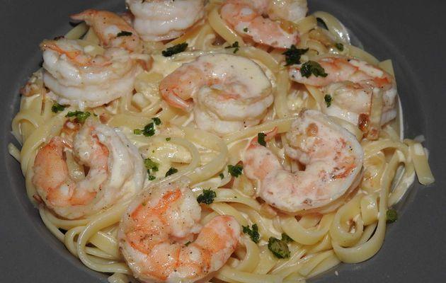 Linguines aux crevettes et sa sauce crémeuse