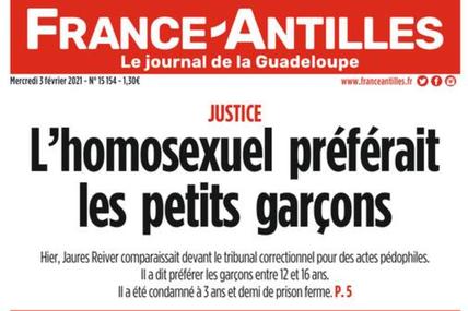 [communiqué] Cinq associations antihomophobie dénoncent la Une du quotidien France-Antilles Guadeloupe !