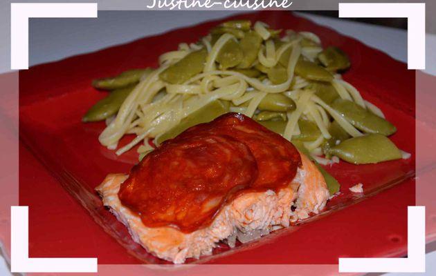 Pâtes aux haricots plats et au saumon