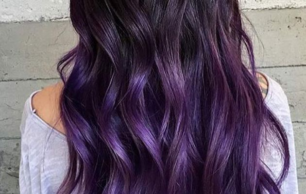 Ombre hair violet