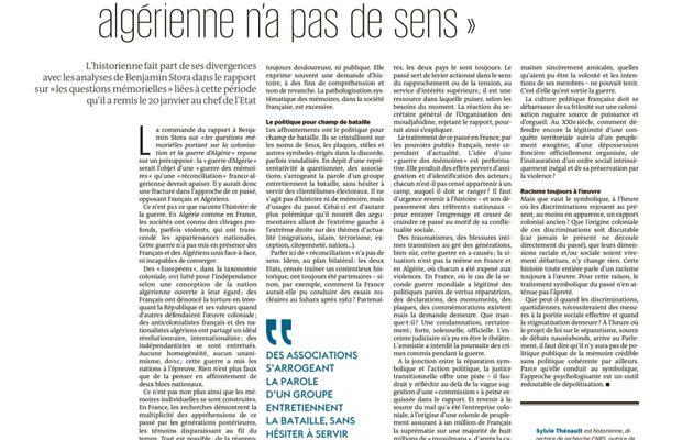 """Sylvie Thénault dans Le Monde : sur la guerre d'Algérie, « parler de """"réconciliation"""" n'a pas de sens »"""