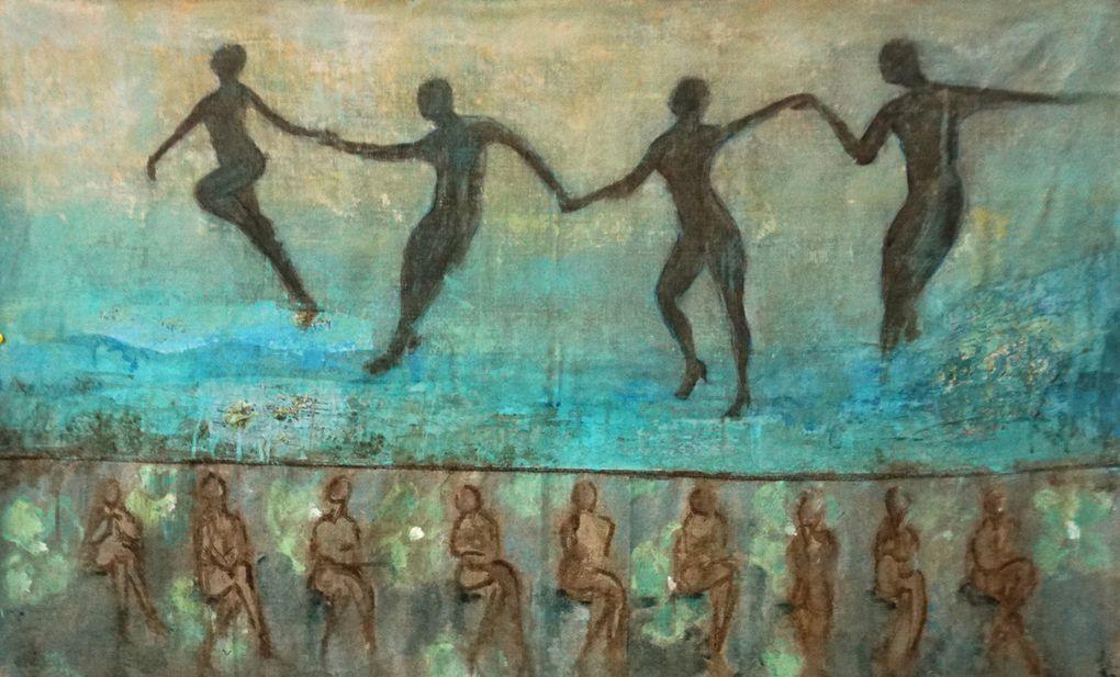 Tango, peintures sur toile (80x100), acrylique, encre, crayon, collage