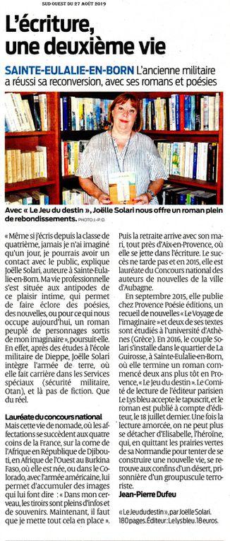 Provence-poésie et Joëlle SOLARI : soutien mutuel.