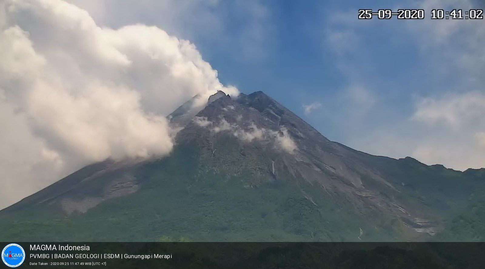 Merapi -Dégazage le 25.09.2020 / 10h41 - photo Magma indonesia