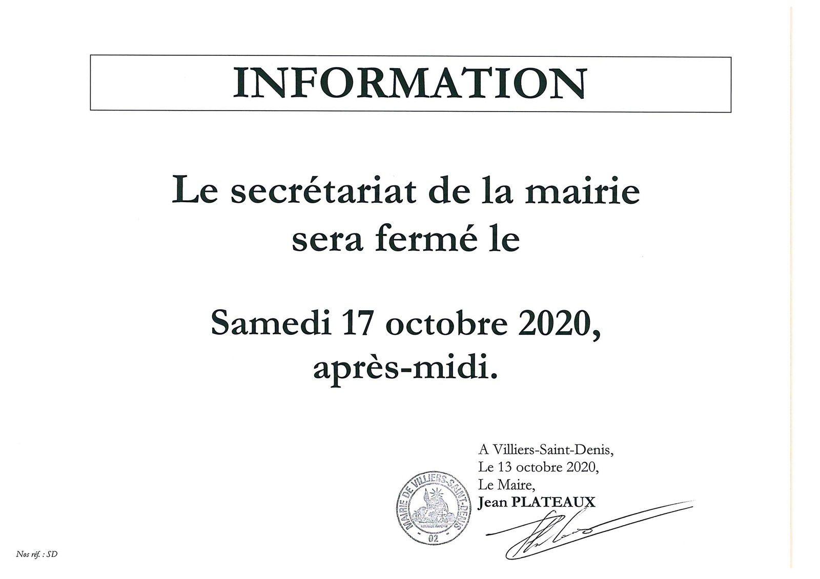 Fermeture du secrétariat de mairie -17 octobre 2020