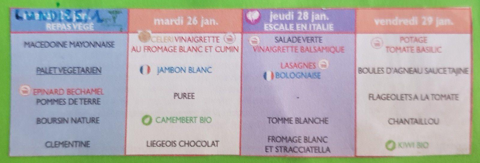 A L'ECOLE  - La cantine: Les menus.
