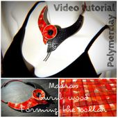 """POLYMER CLAY. VIDEO TUTORIAL (3videos). """"Madras effect with alcohol ink and burnt wood on collar"""". ENGLISH SUBTITLES."""