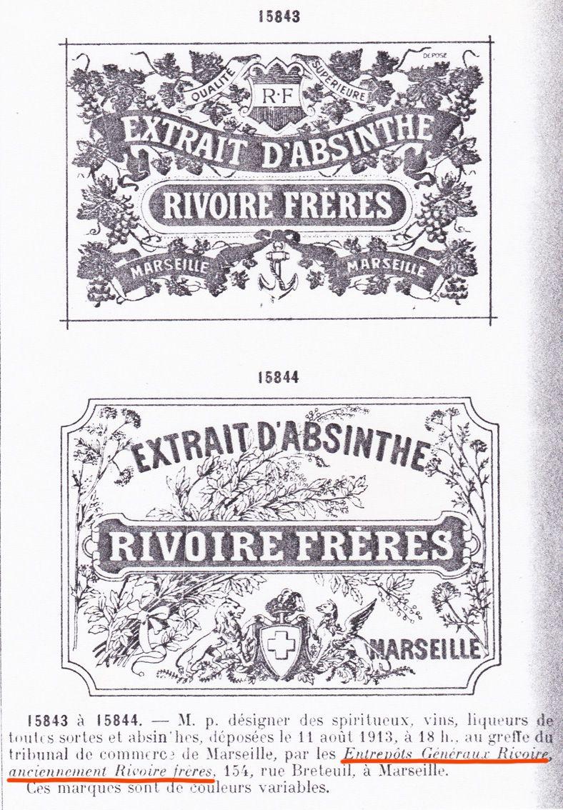 Marques déposées en août 1913 par la Société anonyme des Entrepôts généraux Rivoire anciennement Rivoire Frères, 154 rue de Breteuil à Marseille.