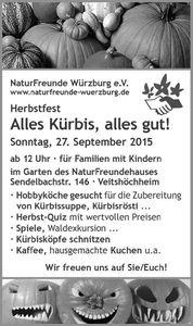 Das Herbstfest im Veitshöchheimer Naturfreundehaus am 27.9. widmet sich dem Kürbis