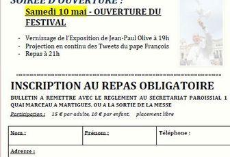 SAMEDI 10 MAI : SOIREE D'OUVERTURE DU FESTIVAL DE L'ANNONCIADE - INSCRIPTION AU REPAS
