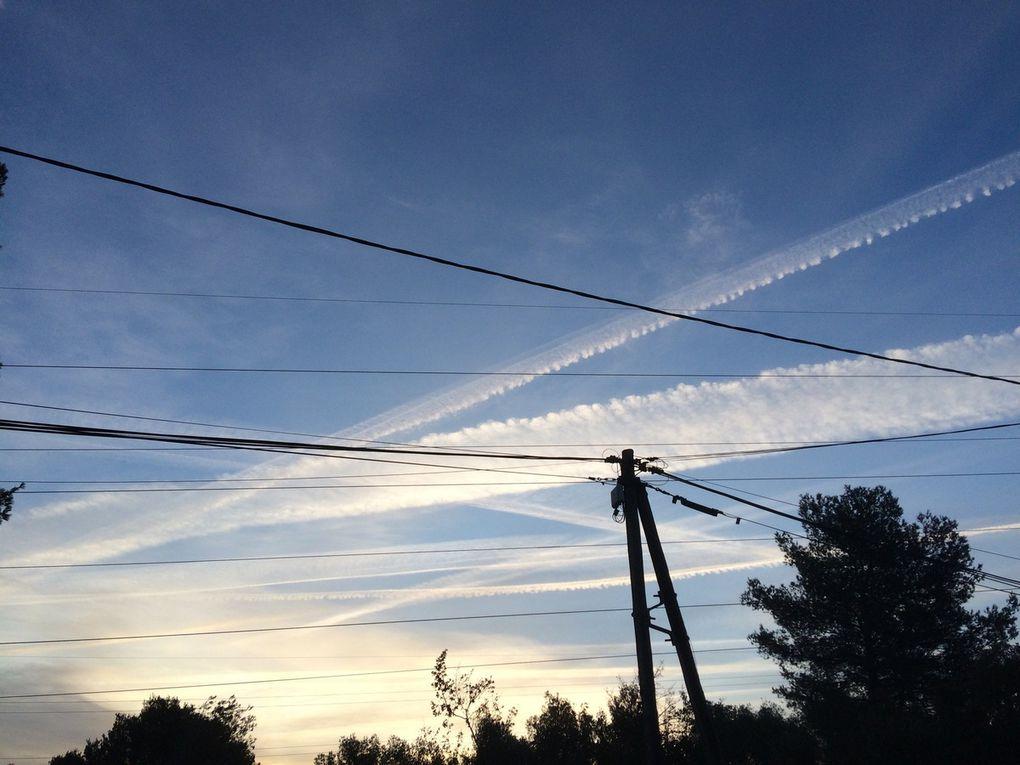 Pollution intensive du ciel de Marseille par les traînées d'avions le vendredi 16 février 2018
