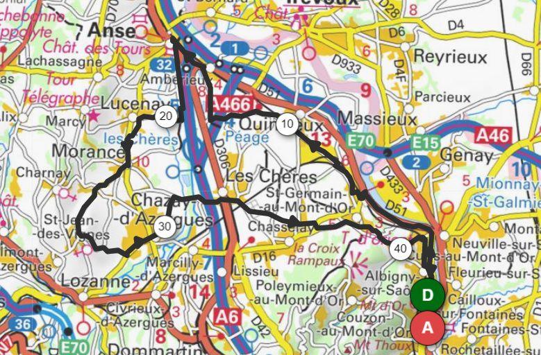 Passage à Curis au Mont d'Or et le circuit du jour de 45km