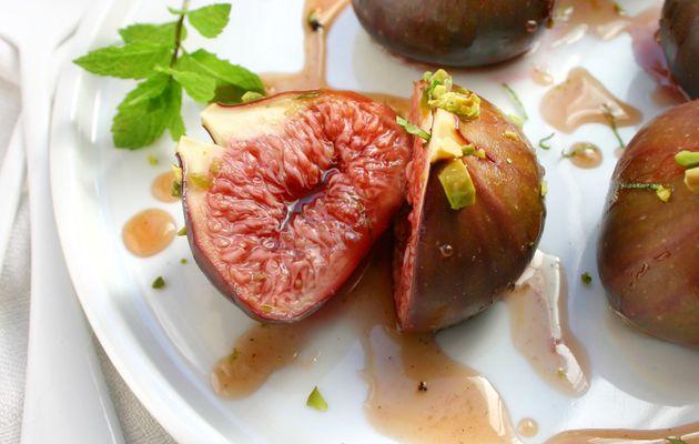 Recette n°199 : Figues rôties au miel, pistaches et menthe