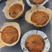 Muffins aux noix,pépites de chocolat, sans beurre,sans œufs ni lait, IG bas à l'épeautre T150