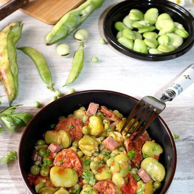 Mijoté de fèves et petits pois au chorizo