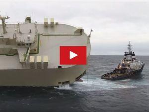 VIDEO - la première tentative de remorquage du cargo Modern Express