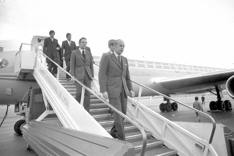 12 avril 1975. Inauguration de l'aéroport de Lyon-Satolas par Valéry Giscard d'Estaing. • © MaxPPP