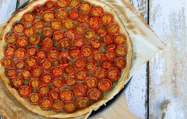 Tarte fine aux tomates cerises et pesto