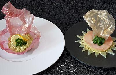 Technique du drapé de feuilles de riz pour décoration de plats sucrés ou salés.