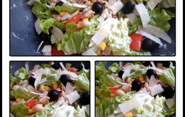 Salade pâte, tomate, battavia, olive noir, parmesan et maïs