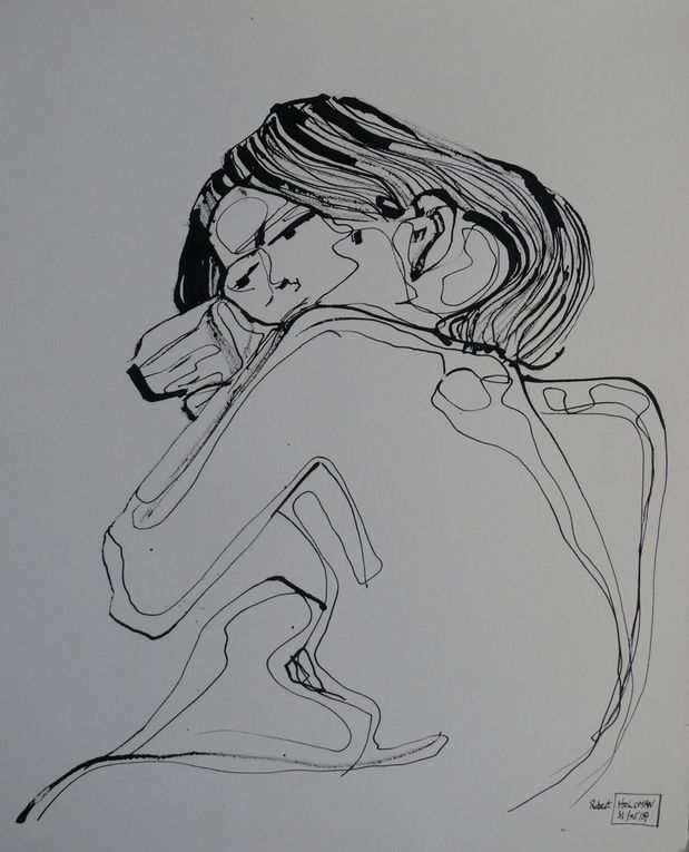 Encre noire sur papier lisse, bambou et porte-plume, 24 cm x 32 cm, à partir de modèles vivants