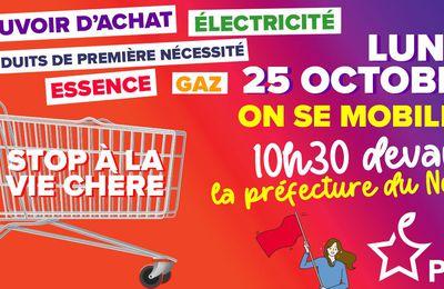 Stop à la vie chère ! Mobilisation le 25 octobre à 10h30 devant la Préfecture du Nord